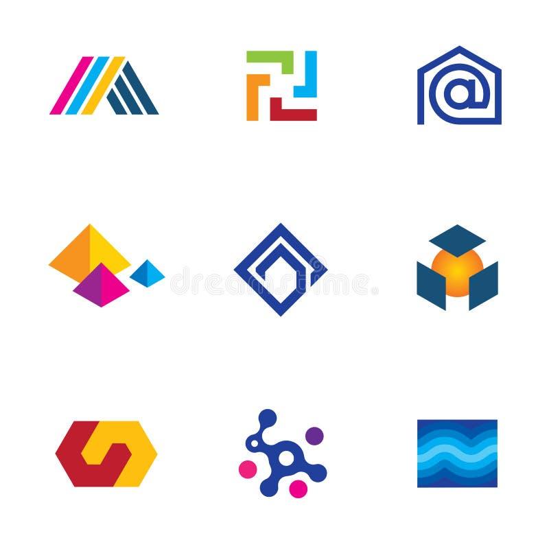 För företagsapp för ny teknik uppsättning för symbol för nätverk för innovativ logo framtida vektor illustrationer