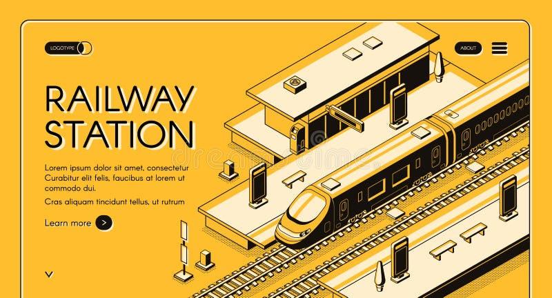 För företagsvektor för järnväg transport mall för website vektor illustrationer