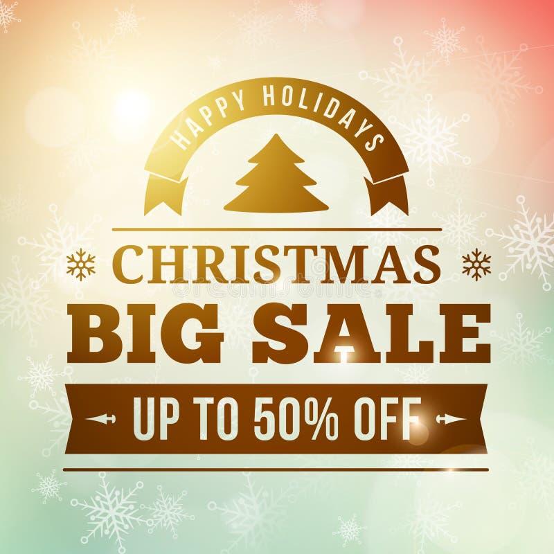 För försäljningsaffisch för jul stor bakgrund arkivbild