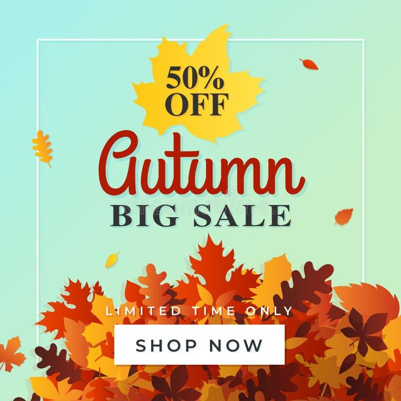 För försäljningsbakgrund för höst stor vektor 50% av mall för nedgångrabattreklamblad Shoppa direktanslutet banret, card, märker, vektor illustrationer