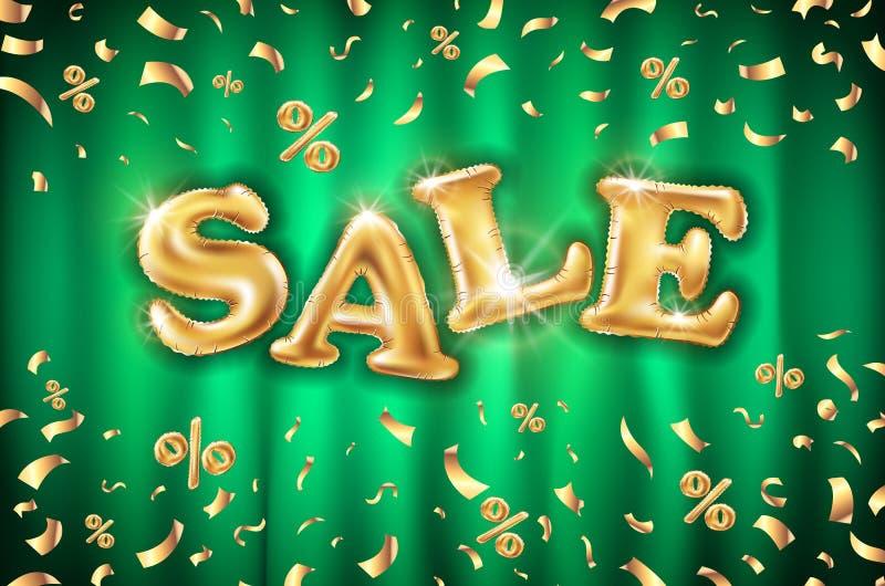 För försäljningsballonger för vektor guld- bakgrund på gröna gardinlagerbaner, advertizing, shopping Logo logotyp, tecken, symbol vektor illustrationer