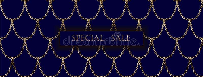 För försäljningsbaner för guld- kedja lyxig mall Mörk djupblå guld- fiskvåg Befordrings- kommersiell erbjudandeinbjudan stock illustrationer