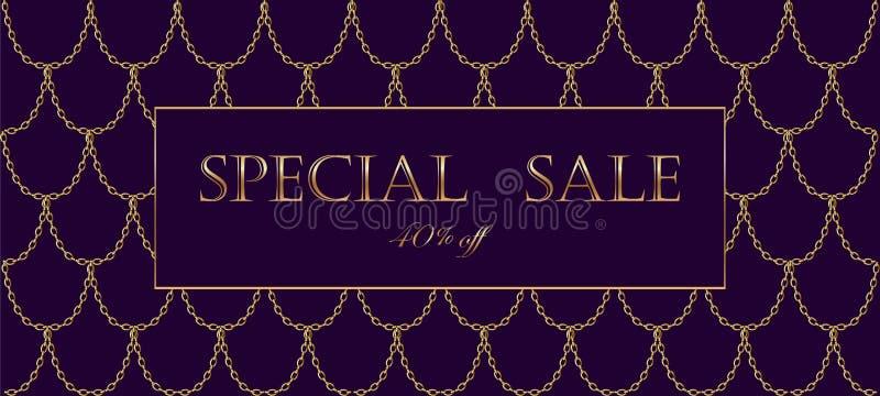 För försäljningsbaner för guld- kedja lyxig mall Mörkt djupt - purpurfärgad guld- fiskvåg Befordrings- kommersiell erbjudandeinbj stock illustrationer