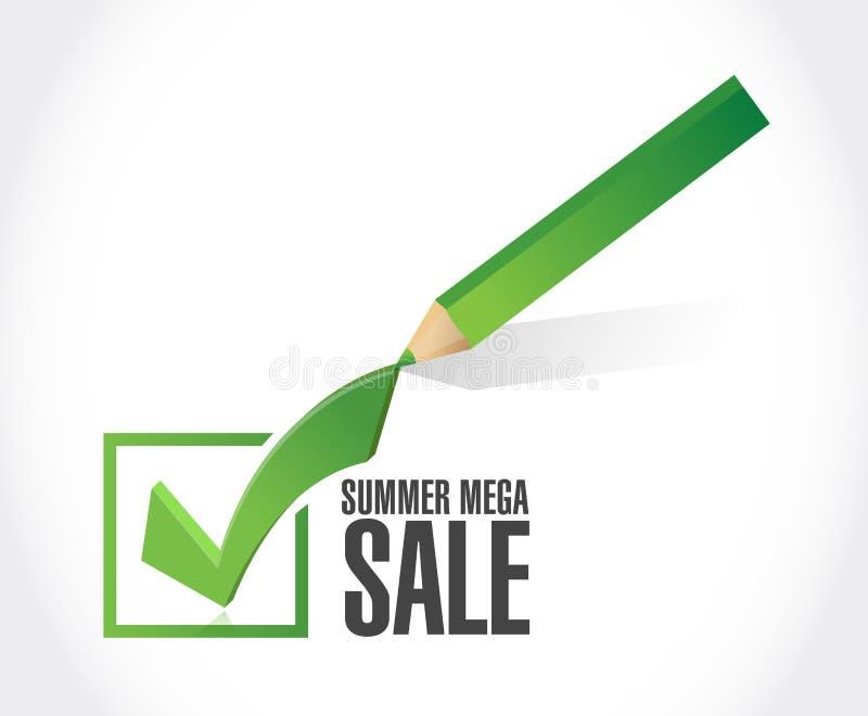 för försäljningsgodkännande för sommar isolerade den mega illustrationen för begreppet för meddelandet för fläcken för kontrollen royaltyfri illustrationer