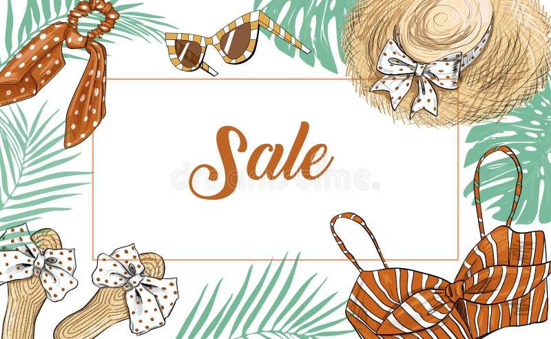För försäljningsmode för hand utdraget baner royaltyfri illustrationer