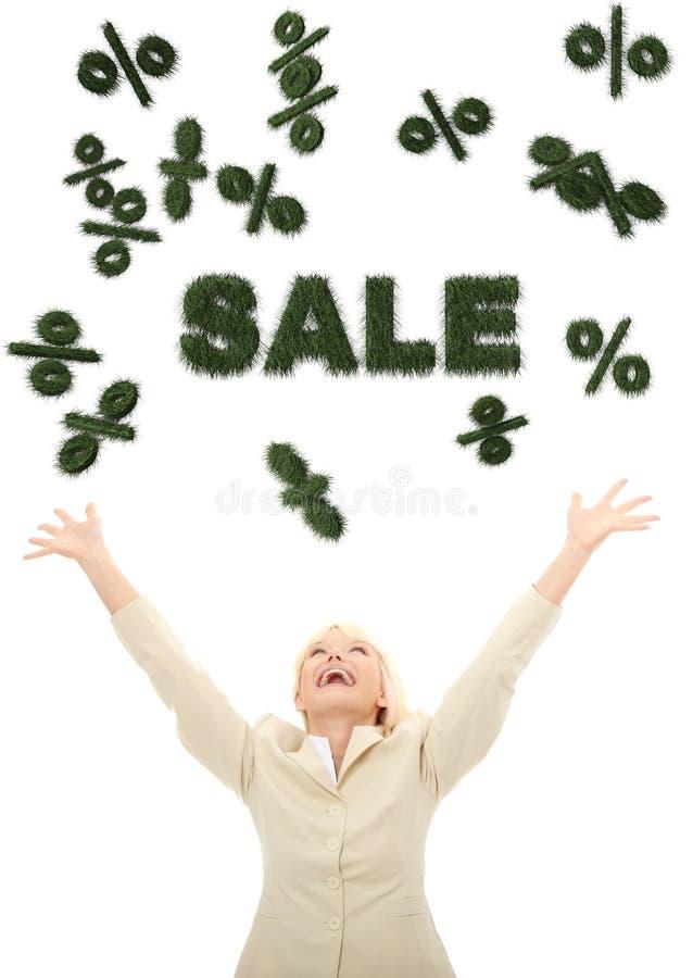 för försäljningstecken för affärskvinna 3d lyckligt seende barn royaltyfri illustrationer