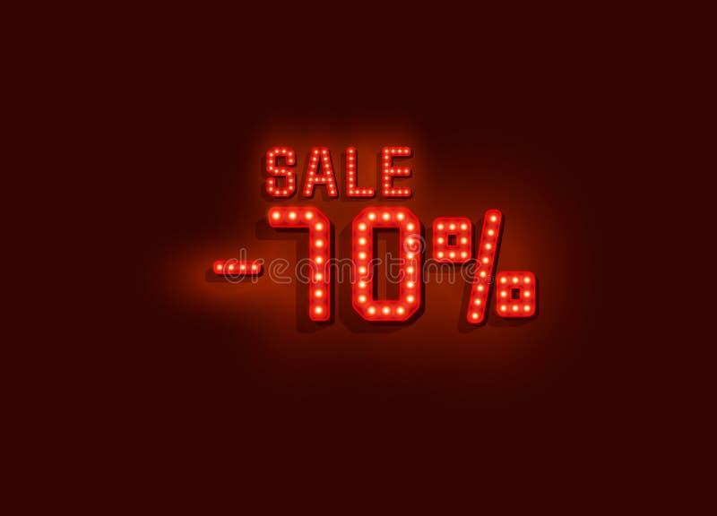För försäljningstext för neon 70 baner Natttecken vektor royaltyfri illustrationer