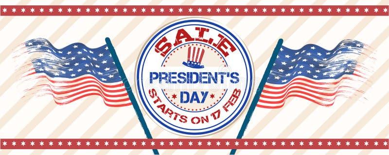 För för försäljningstitelrad eller baner för president Day design med gummistämpeln och krabba USA flaggor royaltyfri illustrationer
