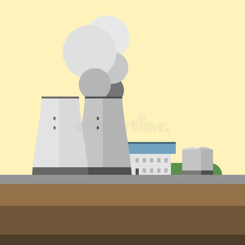 För fabrikskälla för alternativ energi illustration för vektor för bakgrund för teknologi för turbin för eco för beskydd för elek royaltyfri illustrationer