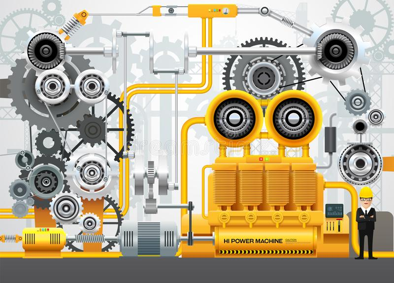 För fabriksteknik för industriellt maskineri utrustning för konstruktion stock illustrationer