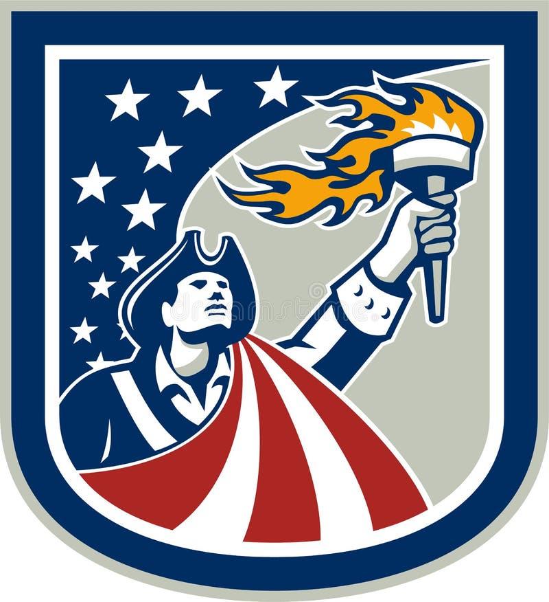För facklaflagga för amerikansk patriot hållande övre sköld vektor illustrationer