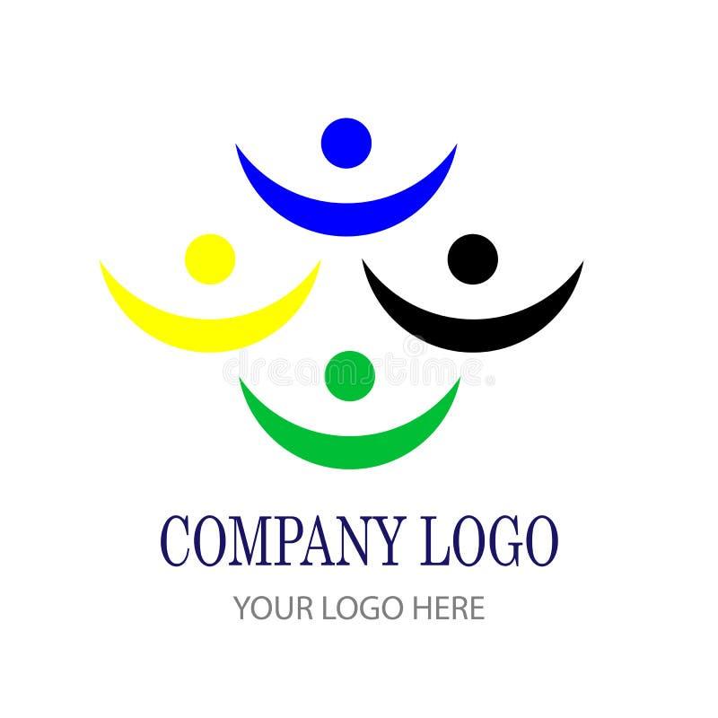 För fackligt symbol för logo för gemenskap lagarbete för folk social stock illustrationer