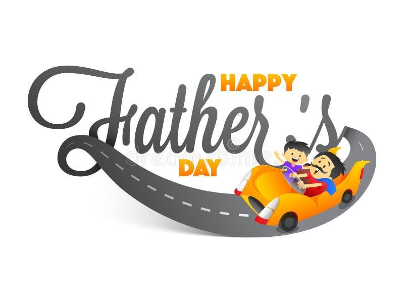 För fader` s för stilfull text lycklig dag med fader- och sonduett som rider a vektor illustrationer