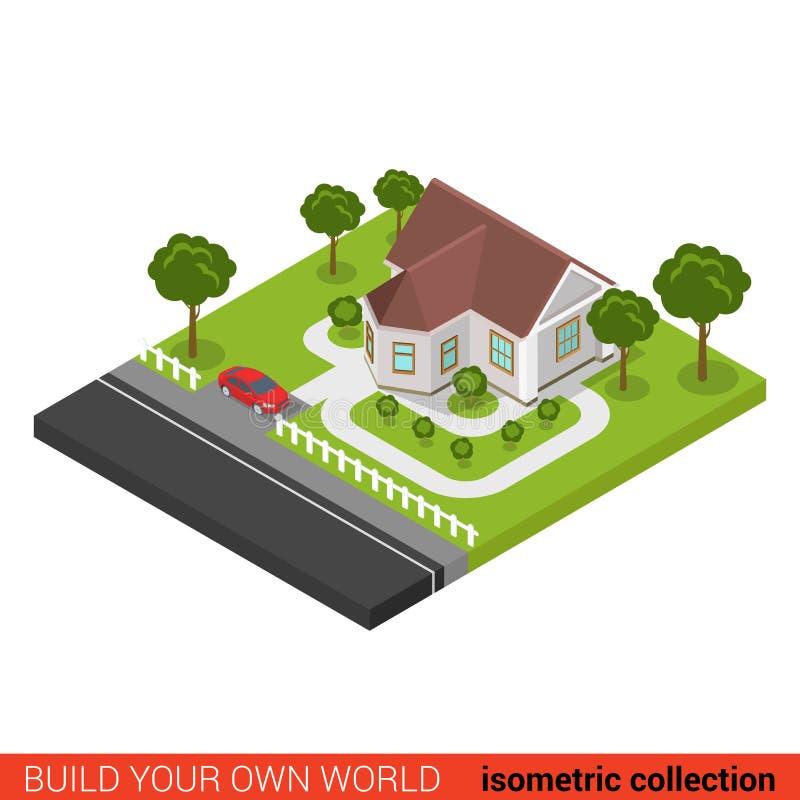 För familjhus för plan vektor 3d isometriskt kvarter för byggnad för bil vektor illustrationer
