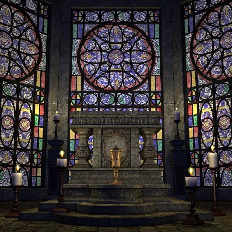 för fantasisanctum för altare arkaisk inställning royaltyfri illustrationer