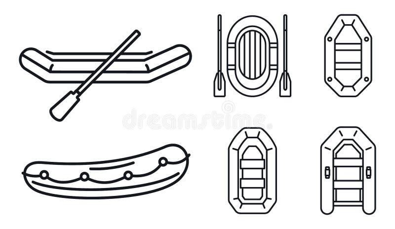 För fartygsymbol för gummi uppblåsbar uppsättning, översiktsstil stock illustrationer