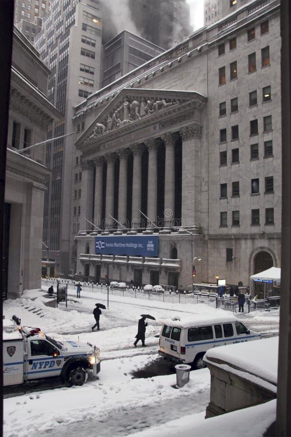 för februari för 26 utbyte materiel för snow nyc under arkivbild