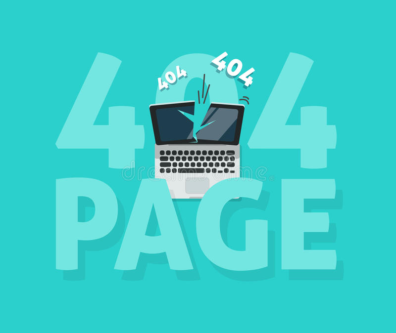 För felsida för abstrakt begrepp 404 illustration för vektor, funnen mall för webpage inte royaltyfri illustrationer