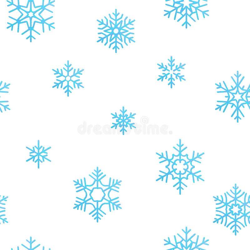 För feriegarnering för glad jul bakgrund för effekt Sömlös modellmall för blå snöflinga 10 eps stock illustrationer