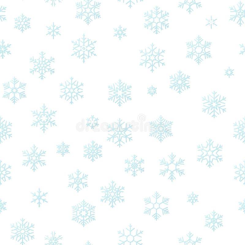 För feriegarnering för glad jul bakgrund för effekt Sömlös modellmall för blå snöflinga 10 eps vektor illustrationer