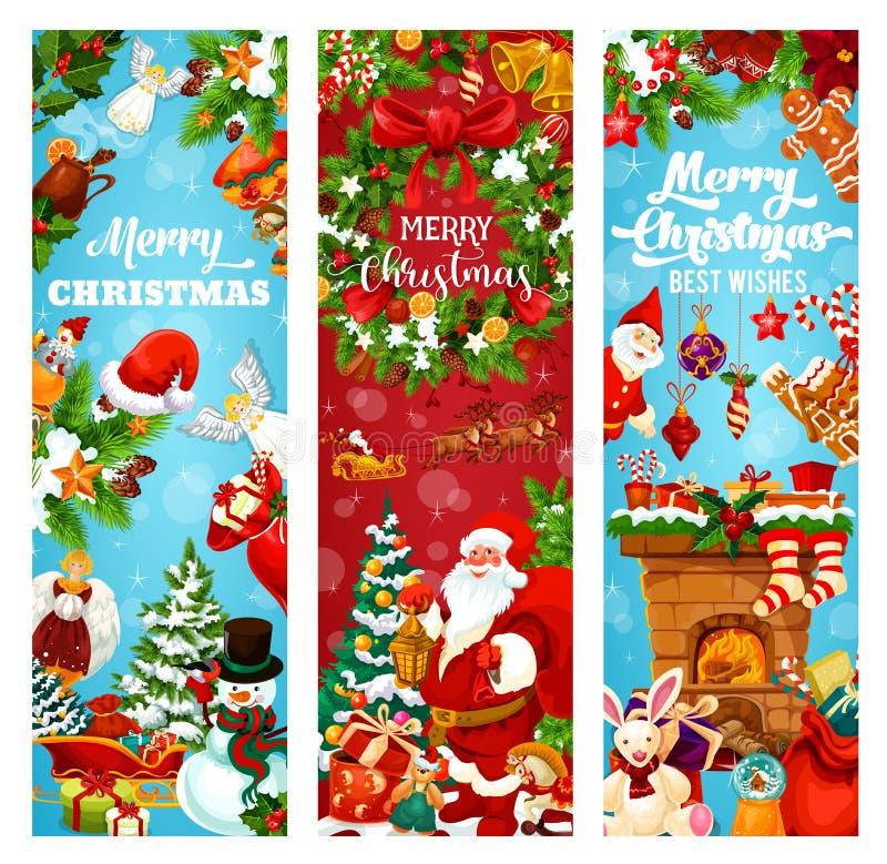 För feriehälsning för jul och för nytt år baner vektor illustrationer