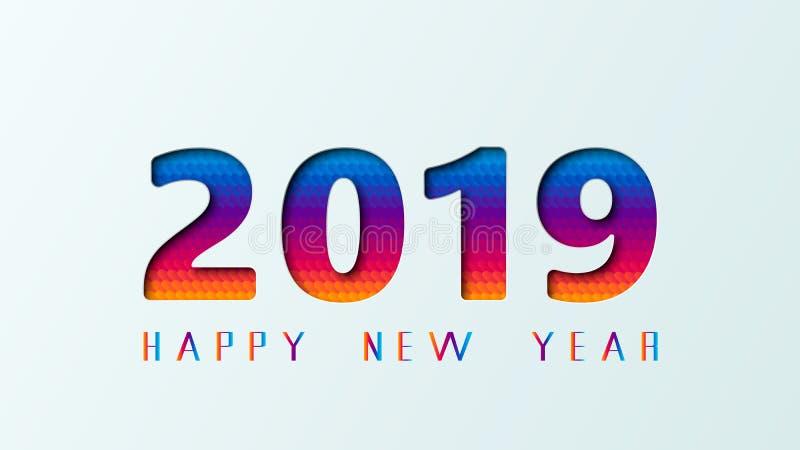 2019 för feriehälsning för lyckligt nytt år kort på affischdesign av papper klippte mång- färglager också vektor för coreldrawill royaltyfri illustrationer
