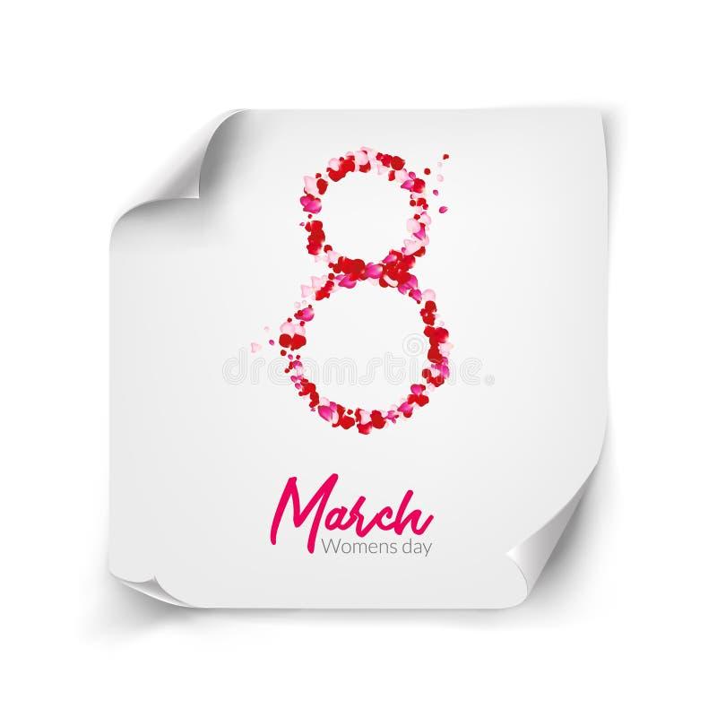 8 för feriekortet för marsch designen på krullat papper tränga någon Hälsningar eller lyckönskan för rosa kronbladvektor internat royaltyfri illustrationer