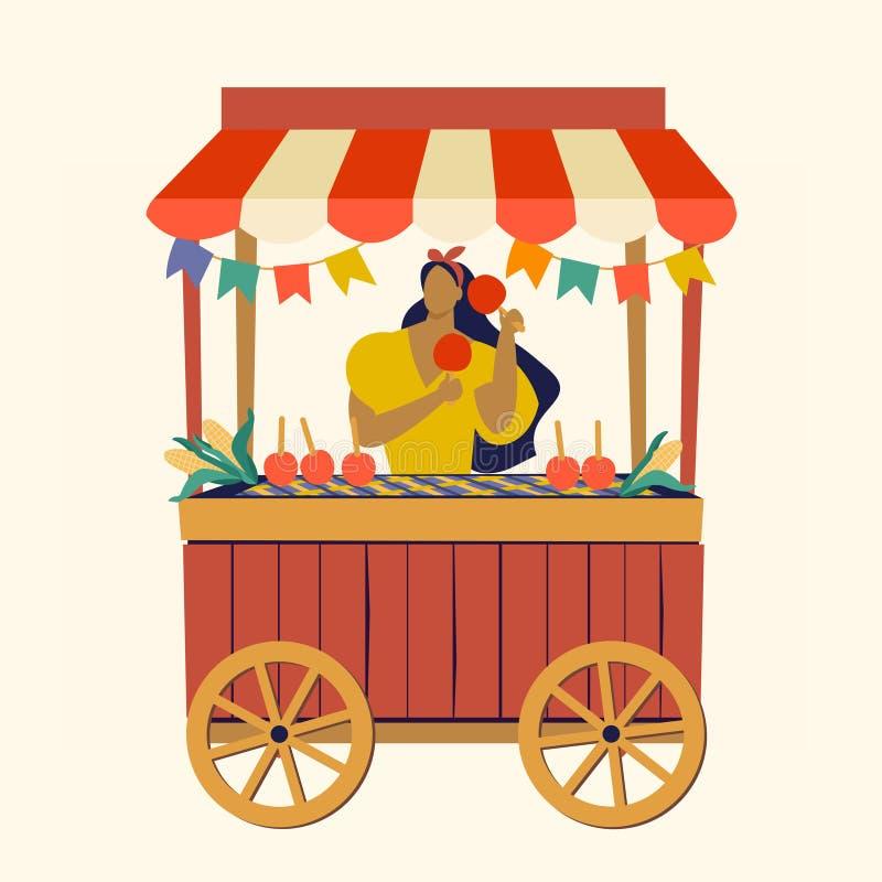 För Festa Junina för vagn för tältgatamat för Apple brasilian för Juni godis illustration för vektor för festival parti royaltyfri illustrationer