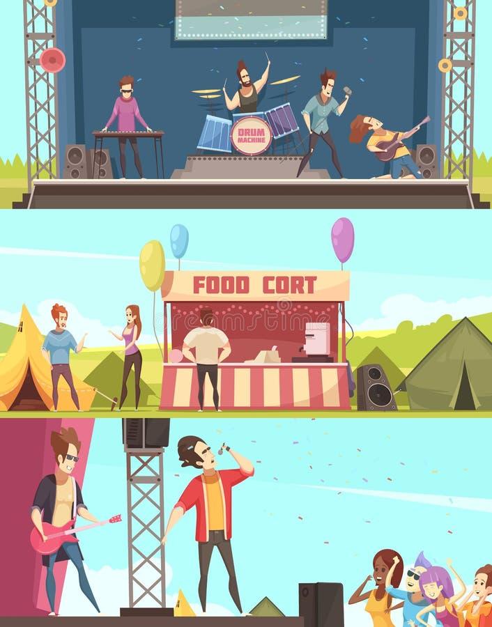 För festivalbaner för öppen luft uppsättning royaltyfri illustrationer