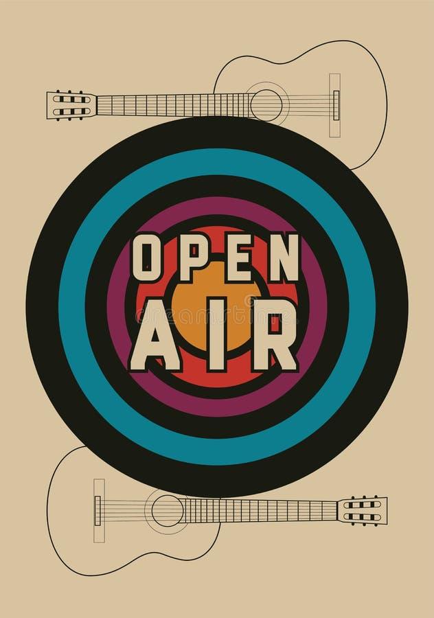 För festivalparti för öppen luft design för affisch för stil för tappning typografisk retro vektor för illustration vektor illustrationer