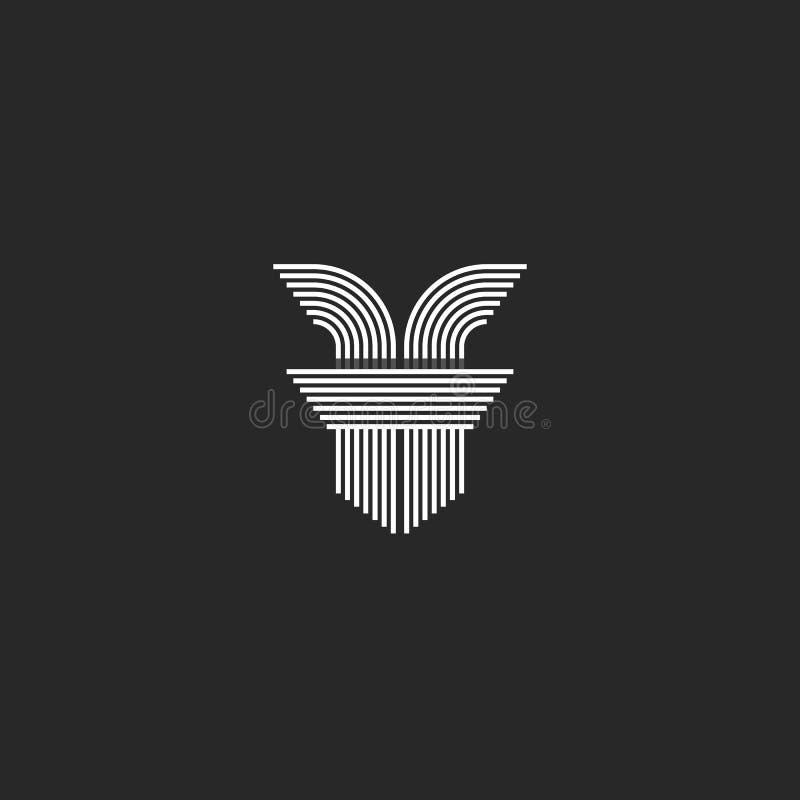 För ff-logoen för initiala bokstäver monogrammet, linjer formar den lilla monogrammet för den moderna designen för fläcken för ko vektor illustrationer