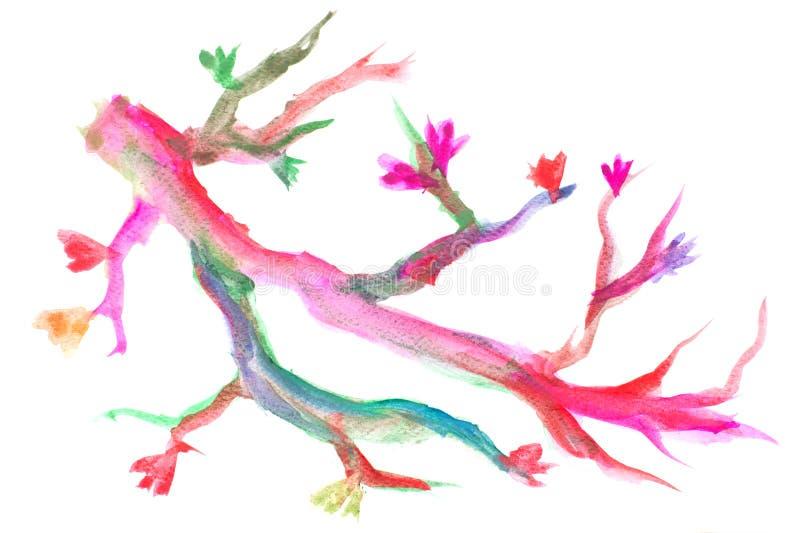 För filialträd för vattenfärg färgrik målning, abstrakt vattenfärgborsteillustration fotografering för bildbyråer