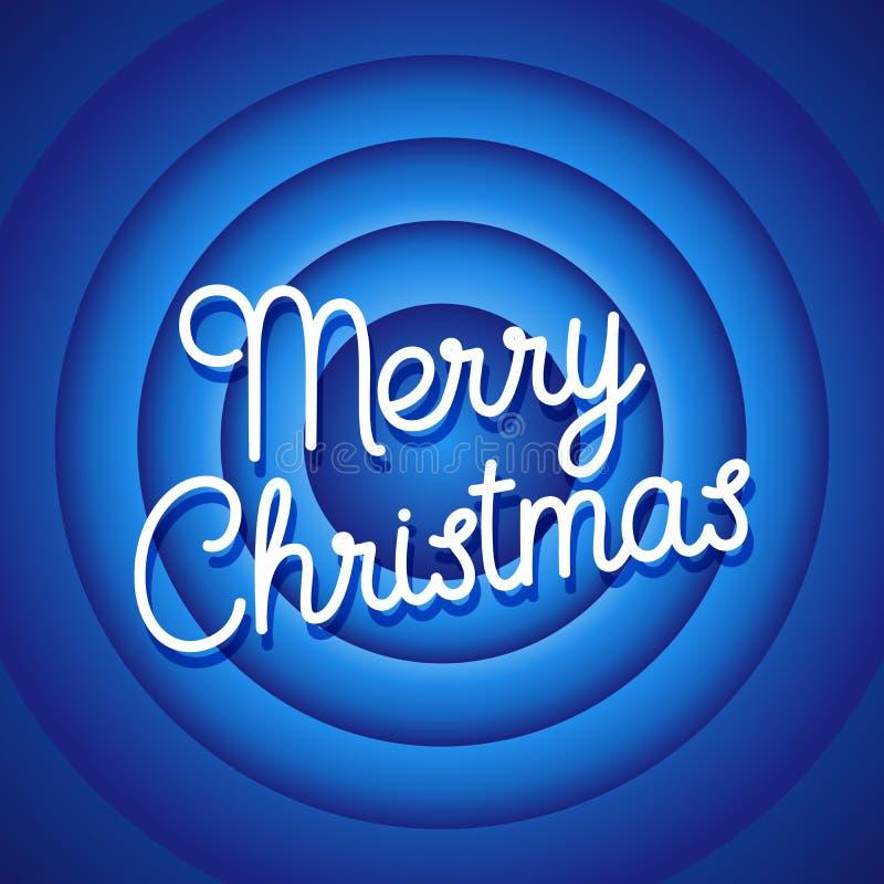 För filmändelse för glad jul skärm Blå bakgrundsvektor stock illustrationer