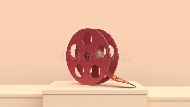 för filmrulle för tolkning 3d rött guld- begrepp för filmskapare för bio för film för plats för kräm stock illustrationer