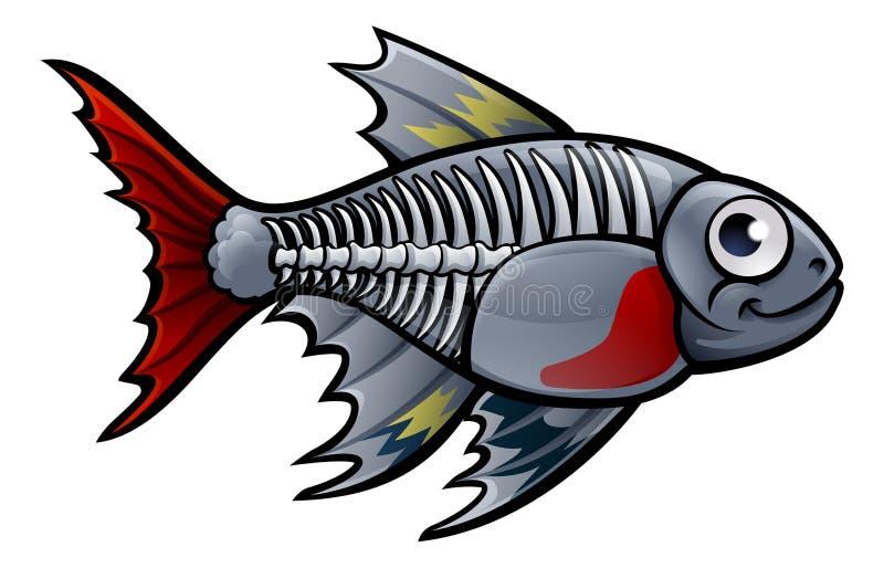 För fisktecknad film för röntgenstråle Tetra tecken royaltyfri illustrationer