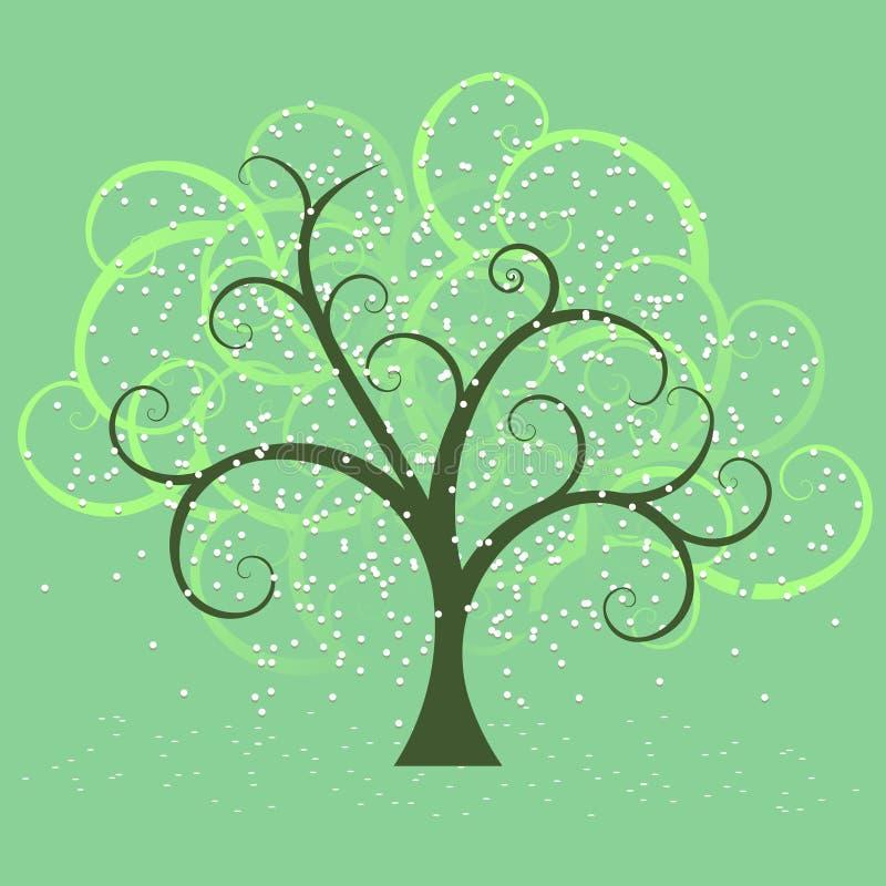för fjäder tree swirly stock illustrationer