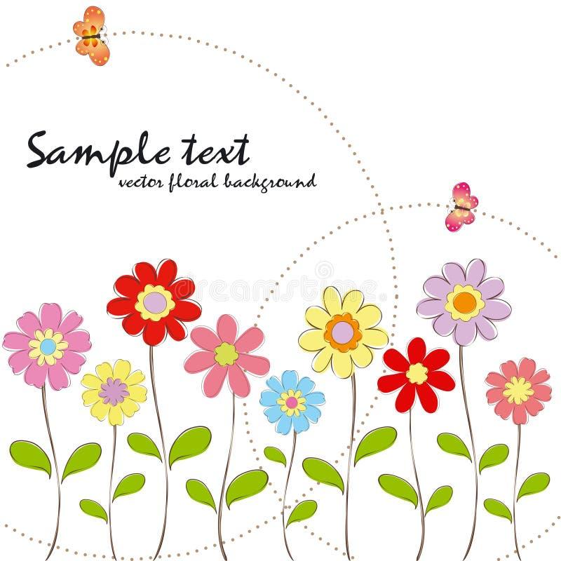 för fjädersommar för fjäril färgrik blom- wallpaper vektor illustrationer