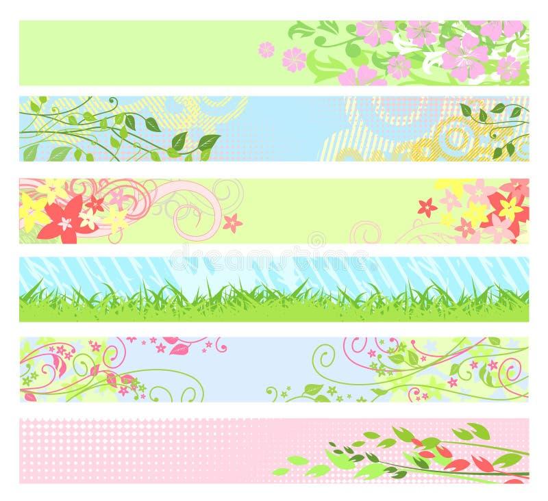 för fjädervektor för baner blom- website stock illustrationer