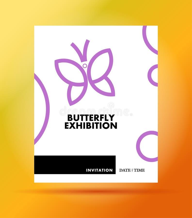 För fjärilsutställning för vektor plan enkel minimalistic mall för inbjudan stock illustrationer
