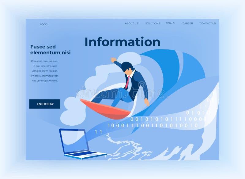 För flödeslandning för binär kod och informationssida stock illustrationer