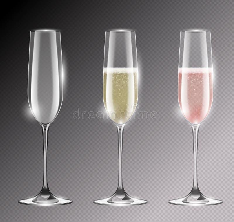 För flöjtvektor för genomskinlig champagne glass illustration Realistisk uppsättning av exponeringsglas med mousserande vit och r stock illustrationer