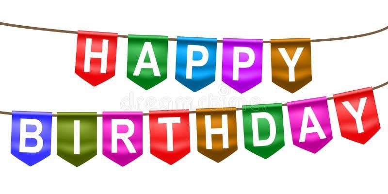 För flaggabaner för lycklig födelsedag hänga – vektor stock illustrationer