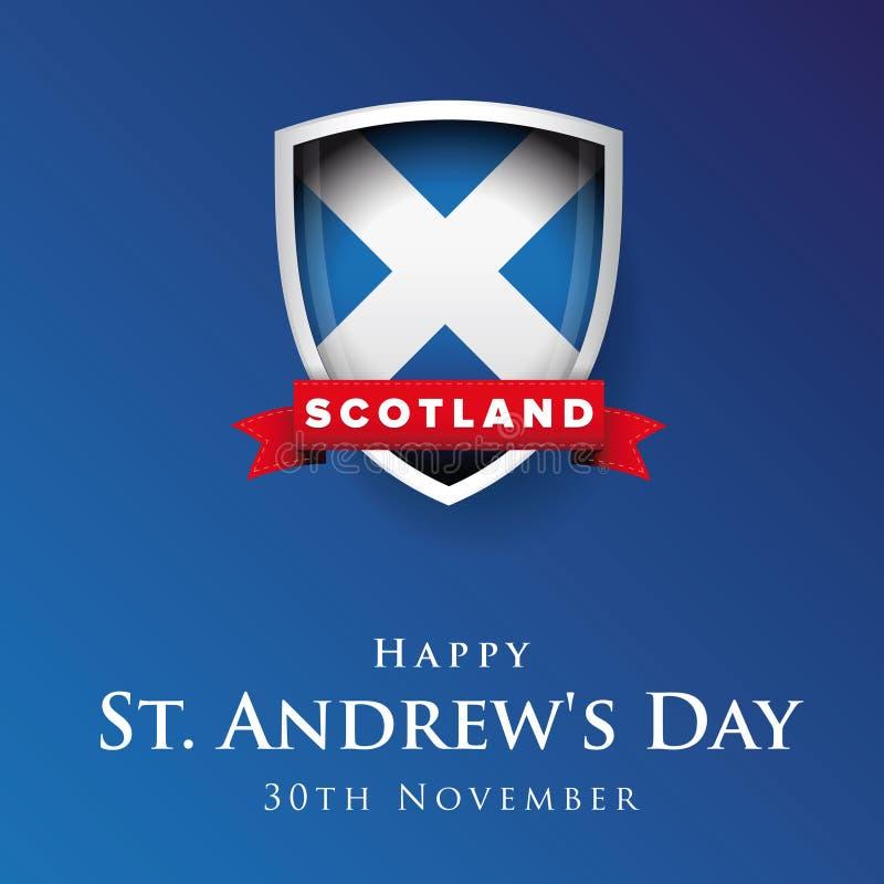 För flaggasköld för St Andrew Day Scotland baner eller affisch stock illustrationer