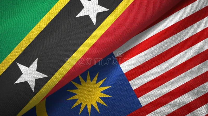 För flaggatextil för helgon Kitts och Nevis och Malaysia två torkduk, tygtextur royaltyfri illustrationer