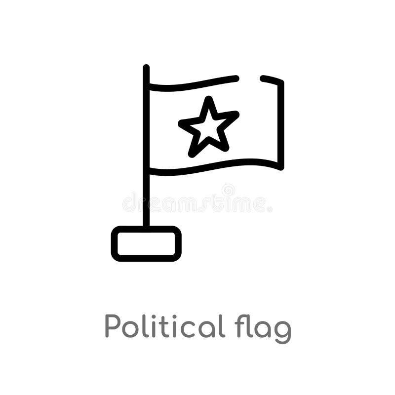 för flaggavektor för översikt politisk symbol isolerad svart enkel linje best?ndsdelillustration fr?n politiskt begrepp Redigerba royaltyfri illustrationer