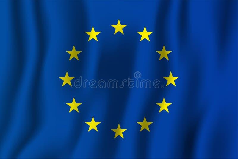 För flaggavektor för europeisk union realistisk vinkande illustration Nationellt landsbakgrundssymbol retro självständighet för b stock illustrationer