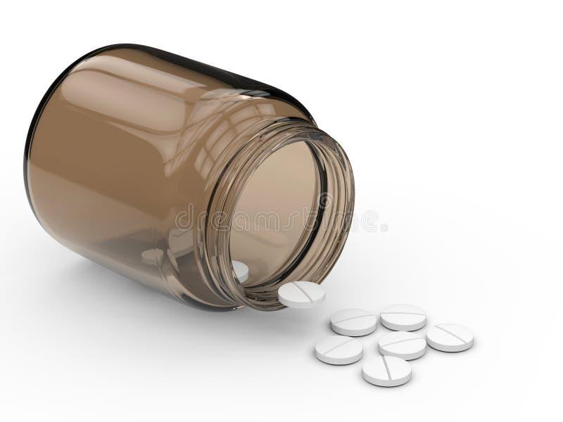 för flaska pillsspill ut royaltyfri illustrationer
