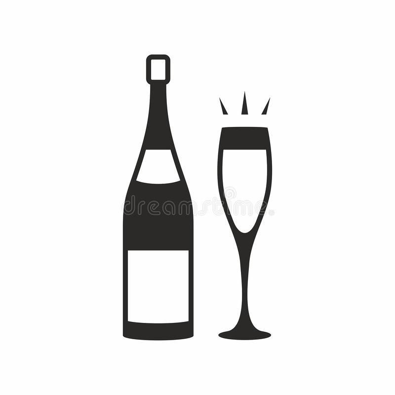för flaskchampagne för bakgrund blått exponeringsglas royaltyfri illustrationer