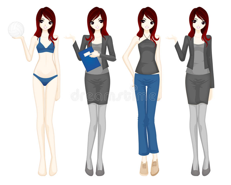 för flickamanga för tecken gullig vektor stock illustrationer