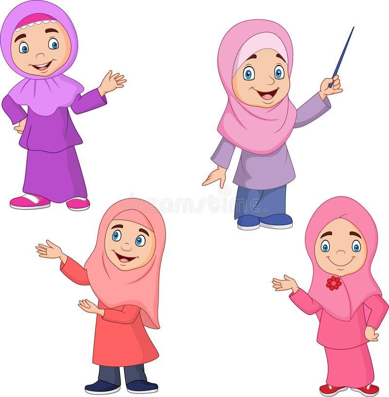 För flickasamling för tecknad film muslimsk uppsättning vektor illustrationer
